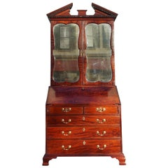English Mahogany Secretary With Mirrored Bookcase. Circa 1780