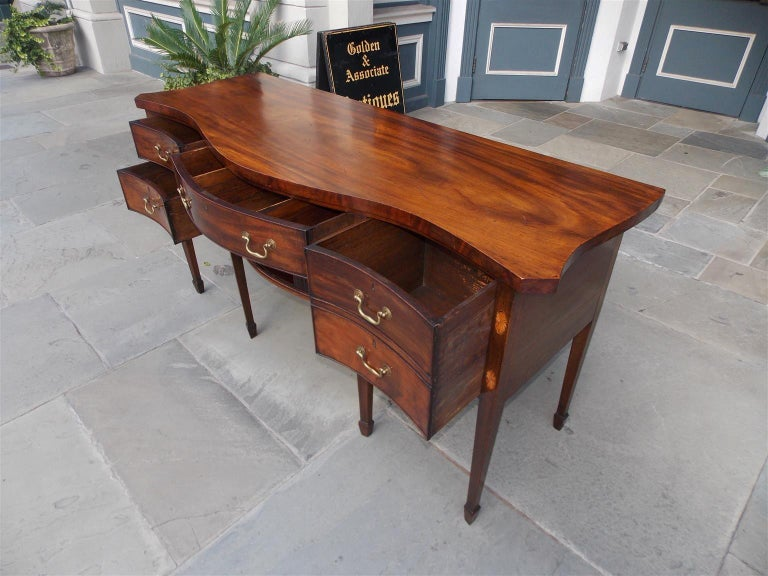 English Mahogany Serpentine Tambour and Inlaid Sideboard, Circa 1790 For Sale 7