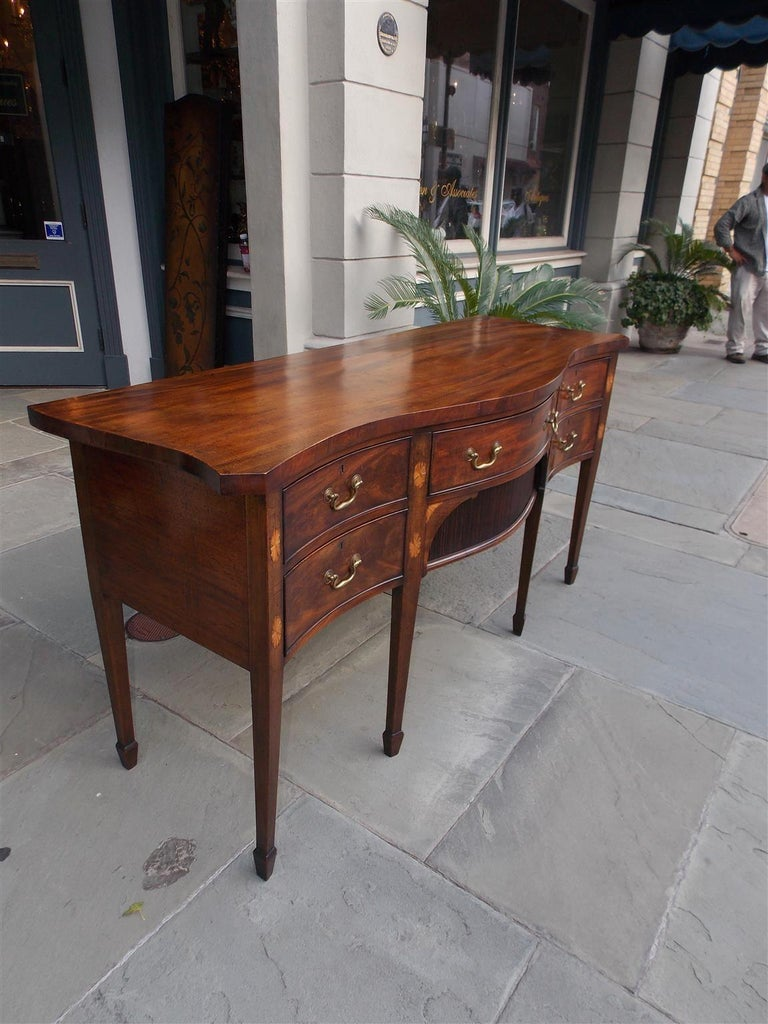 George III English Mahogany Serpentine Tambour and Inlaid Sideboard, Circa 1790 For Sale