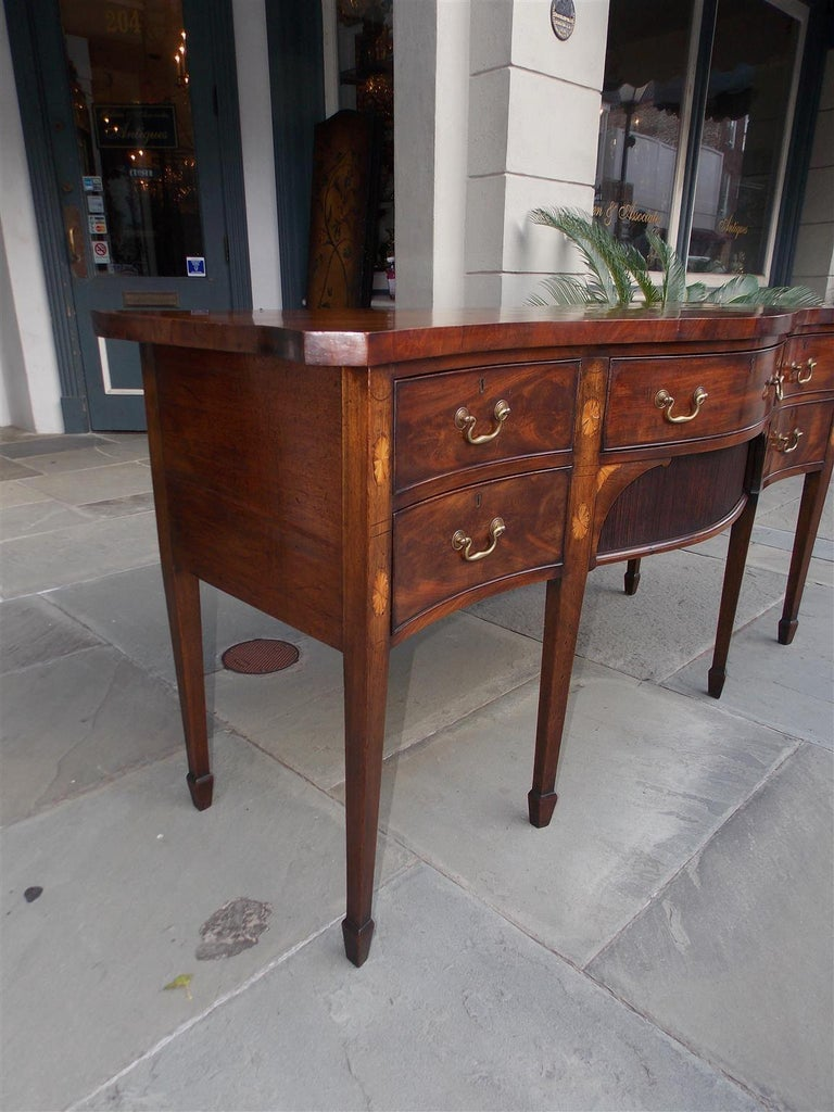 English Mahogany Serpentine Tambour and Inlaid Sideboard, Circa 1790 In Excellent Condition For Sale In Charleston, SC