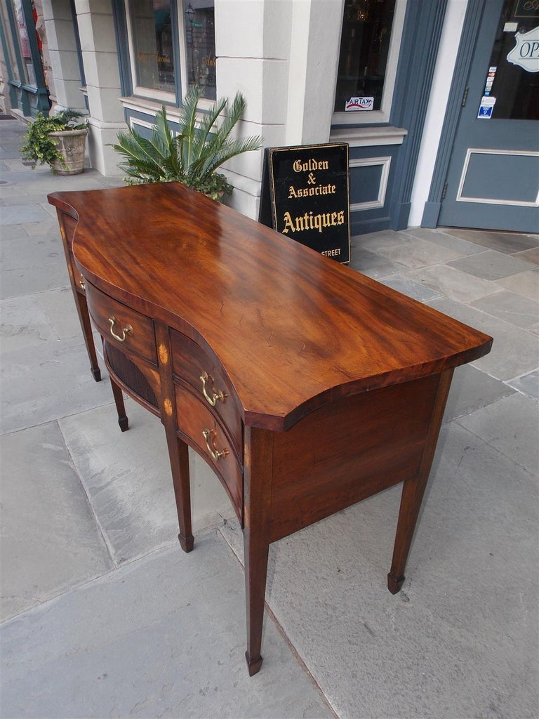 English Mahogany Serpentine Tambour and Inlaid Sideboard, Circa 1790 For Sale 2