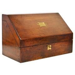 English Mahogany Slant Top Campaign Letter Box with Complete Interior Circa 1850