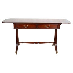 English Mahogany Sofa Writing Table Desk Bevan Funnell Drop-Leaf Console Antique