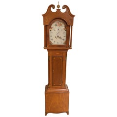English Mahogany Tall Clock with Hand Painted Dial and Fine Inlay