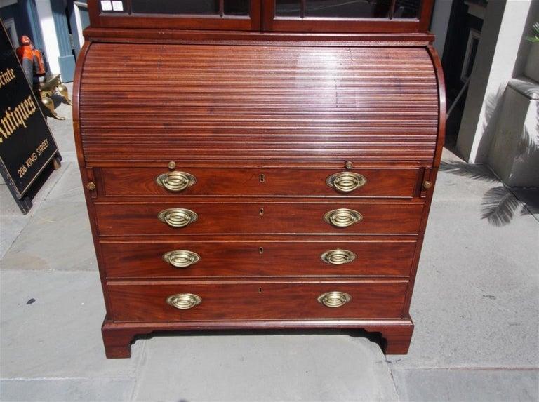 English Mahogany Tambour Graduated Hinged Secretary with Bookcase, Circa 1800 For Sale 3