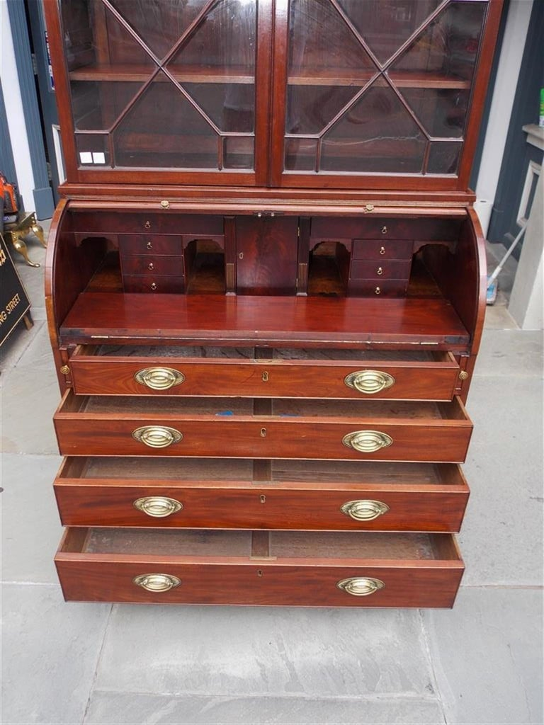 English Mahogany Tambour Graduated Hinged Secretary with Bookcase, Circa 1800 For Sale 7