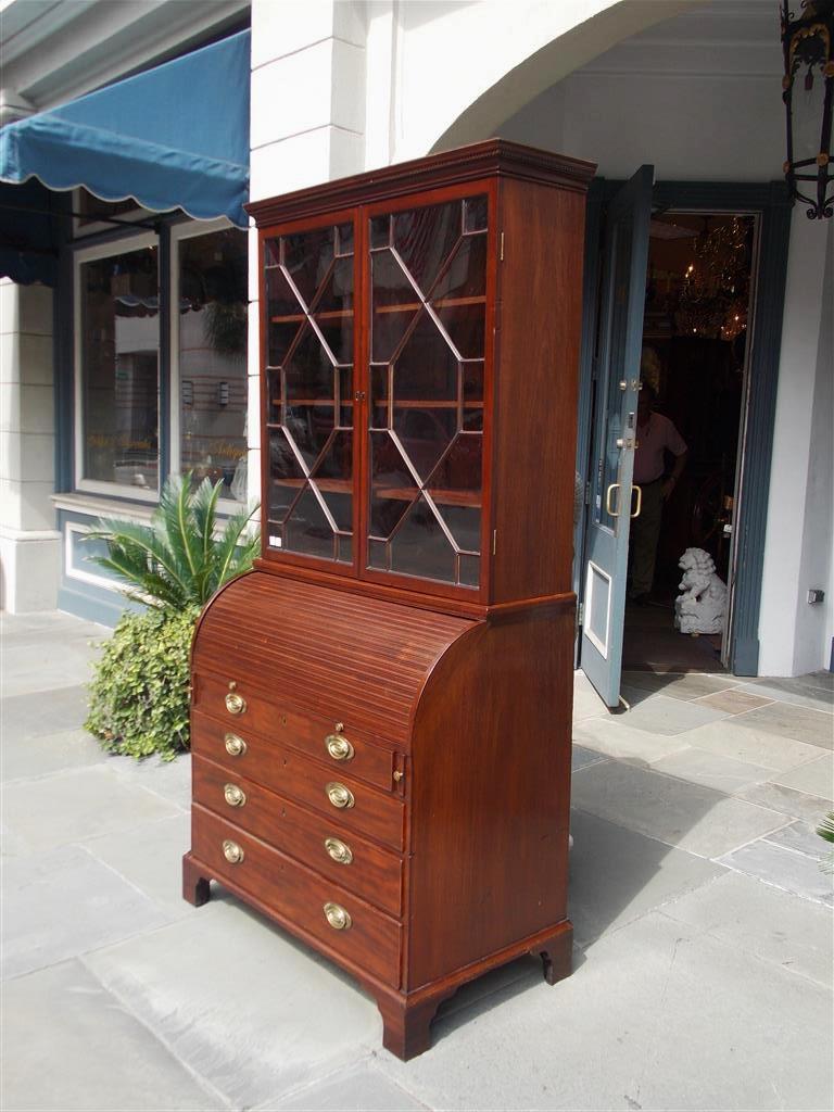 George III English Mahogany Tambour Graduated Hinged Secretary with Bookcase, Circa 1800 For Sale