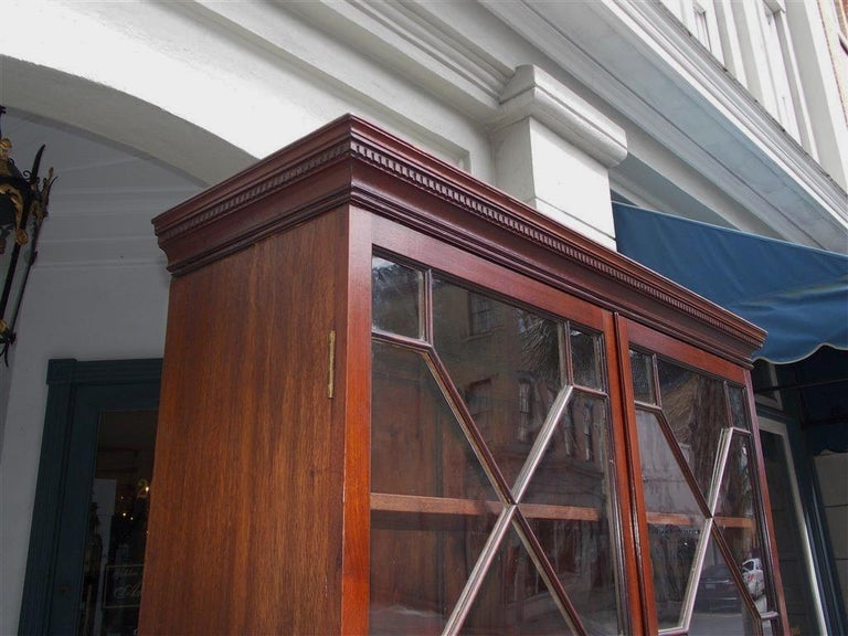 Hand-Carved English Mahogany Tambour Graduated Hinged Secretary with Bookcase, Circa 1800 For Sale