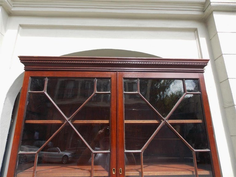 English Mahogany Tambour Graduated Hinged Secretary with Bookcase, Circa 1800 In Excellent Condition For Sale In Charleston, SC