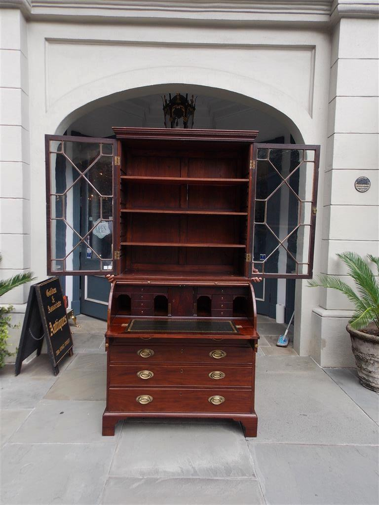 Early 19th Century English Mahogany Tambour Graduated Hinged Secretary with Bookcase, Circa 1800 For Sale