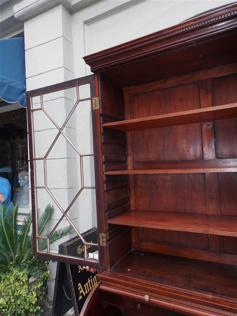 Brass English Mahogany Tambour Graduated Hinged Secretary with Bookcase, Circa 1800 For Sale