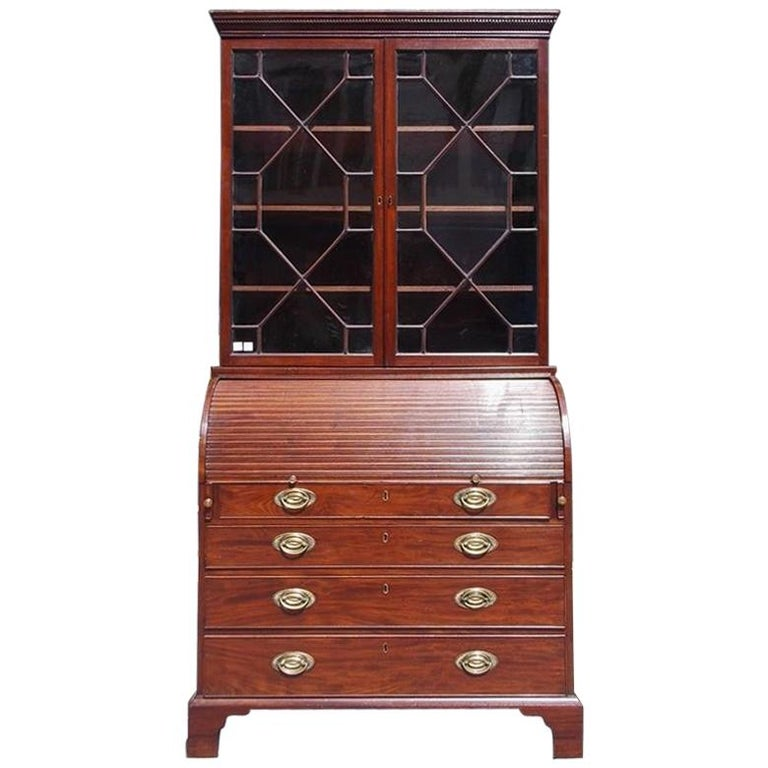 English Mahogany Tambour Graduated Hinged Secretary with Bookcase, Circa 1800 For Sale