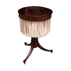 English Mahogany Tambour Inlaid Tripod Sewing Table, Circa 1780