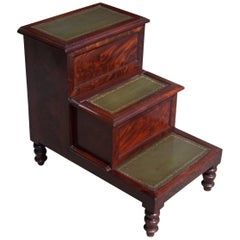 English Mahogany Three-Tiered Fitted Interior Leather Bed Steps, Circa 1820
