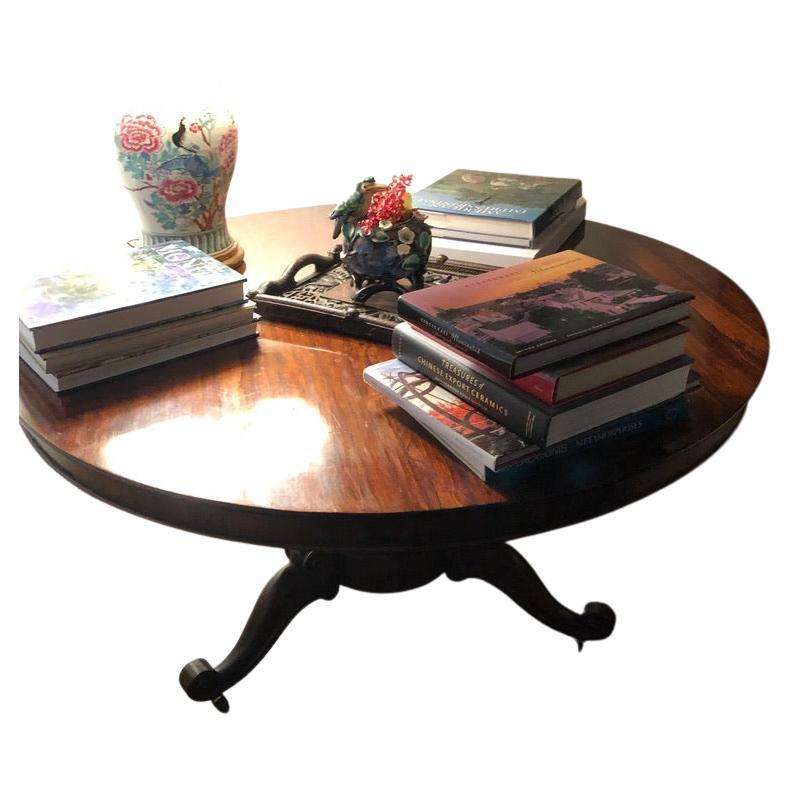 English Mahogany Tilt Top Table Round