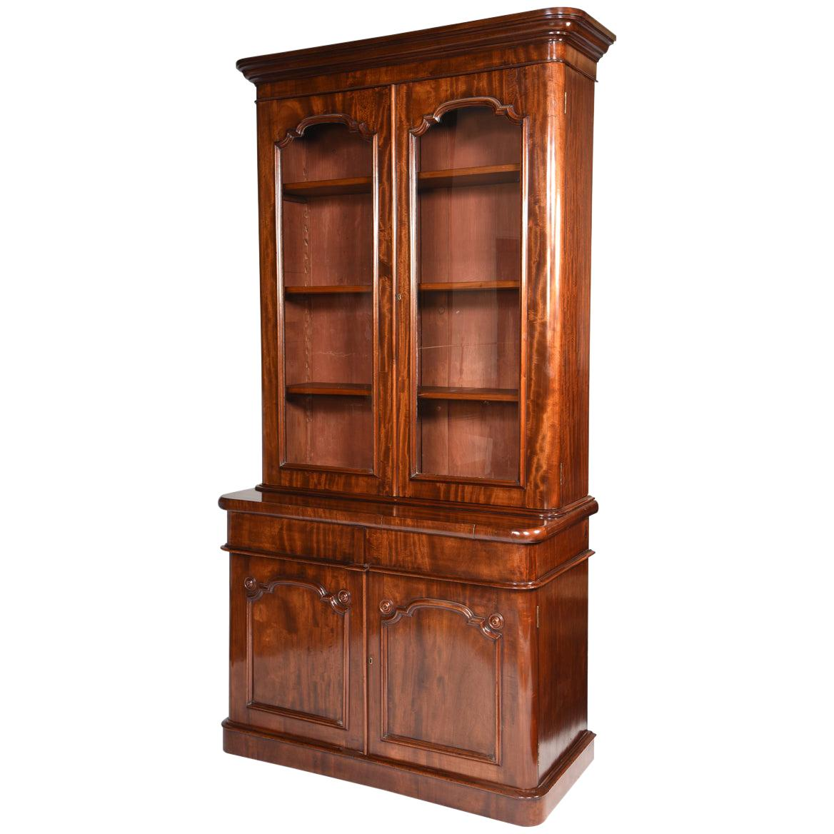 English Mahogany Two-Door Glazed Bookcase or China Cabinet, circa 1840