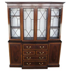 English Mahogany & Walnut Breakfront Bookcase Secretary Chippendale Georgian