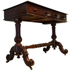 English Mahogany William IV Carved Mahogany Library Console Table