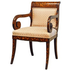 English Mahogany William IV Satinwood Inlaid Mahogany Upholstered Armchair