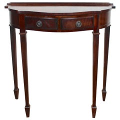 English Mahogany Writing Table Serpentine Console Table Antique Vintage