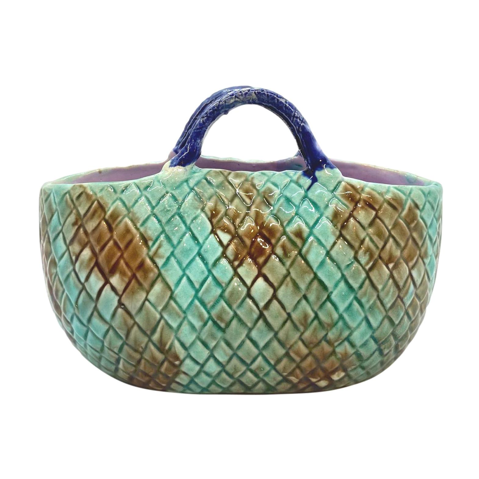 English Majolica Basket Mottled Green Cobalt Handle Lavender Interior, ca. 1875