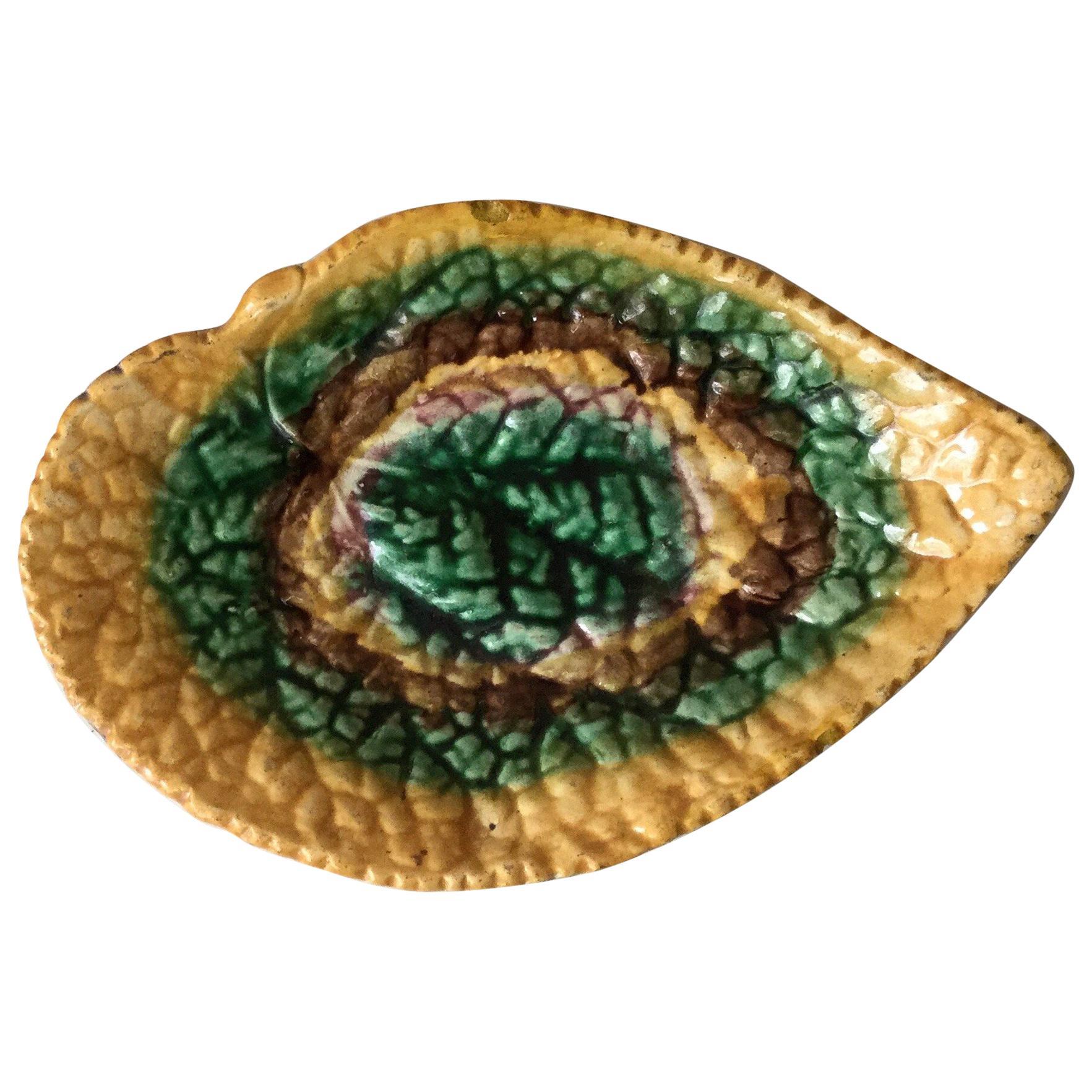 English Majolica Begonia Leaf Dish, circa 1890