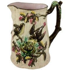 English Majolica Bird Nest Family in Tree Cream and Pink Pitcher, circa 1875