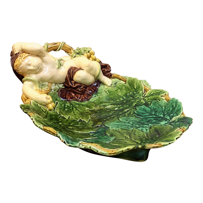 English Majolica Cherub Dish by Minton