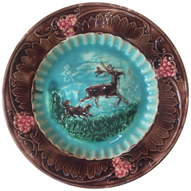 English Majolica Deer and Dog Plate, circa 1880 For Sale