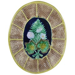 English Majolica Fern and Floral on Wicker Basket Form Oval Cheese Board Platter