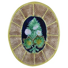 English Majolica Fern and Floral, Wicker Basket Form Cheese Board Platter