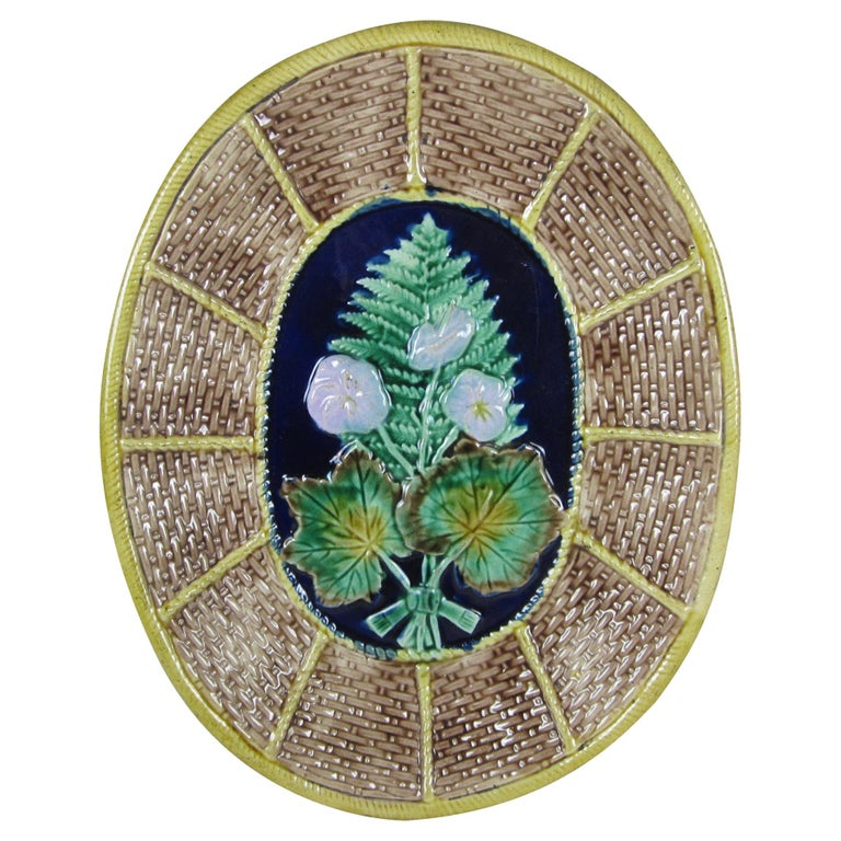 English Majolica Fern and Floral, Wicker Basket Form Cheese Board Platter For Sale