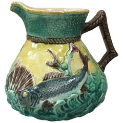 English Majolica Fish and Shell Pitcher, circa 1880