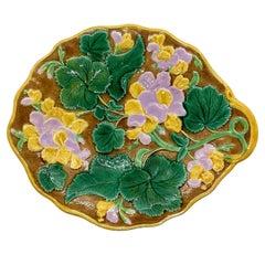 English Majolica Geranium Dessert Tray Glazed in Green, Pink, Yellow, ca. 1880