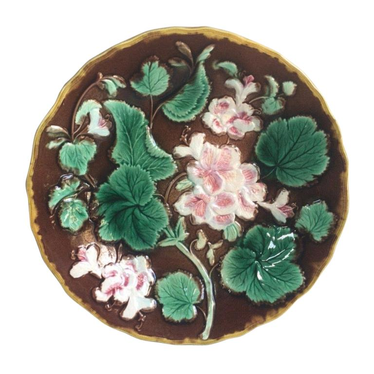 English Majolica Geranium Plate, circa 1880