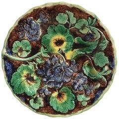 English Majolica Geranium Plate Samuel Alcock & Co, circa 1880