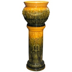 English Majolica Jardinière on Pedestal, Wardle Signed