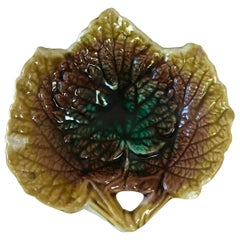 English Majolica Leaf Butter Pat, circa 1890