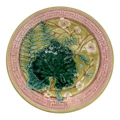 English Majolica Leaf, Ferns and Blossoms with Pink Greek Key Boarder, ca. 1880
