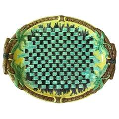 English Majolica Napkin Platter Wedgwood