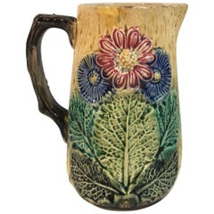 English Majolica Pitcher with Flowers, circa 1890