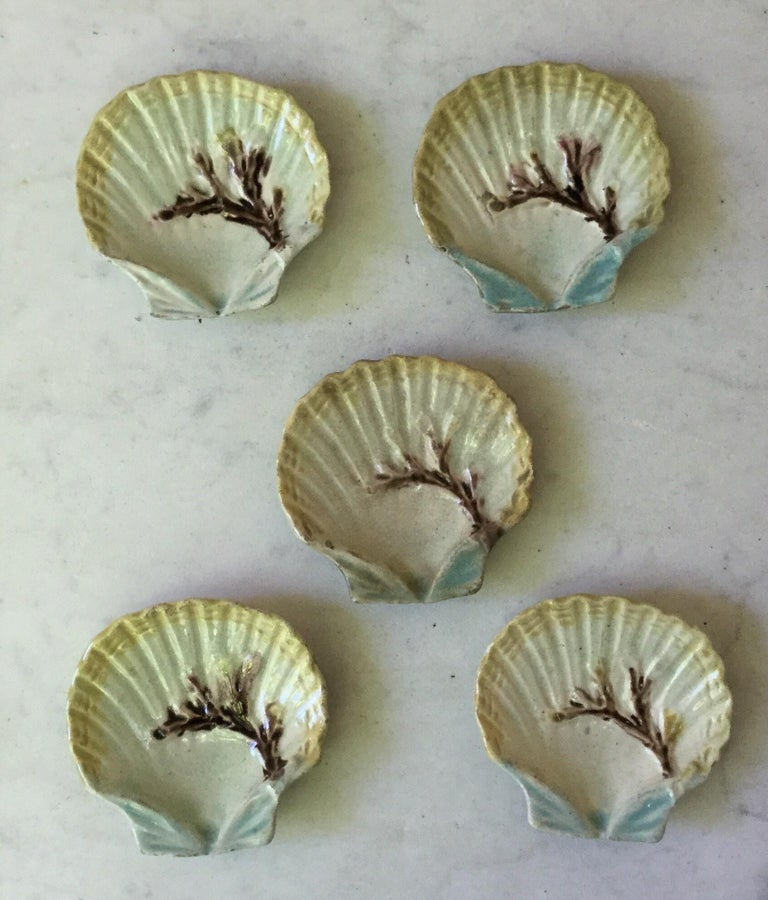 English Majolica Shell Butter Pat, circa 1880 In Good Condition For Sale In The Hills, TX
