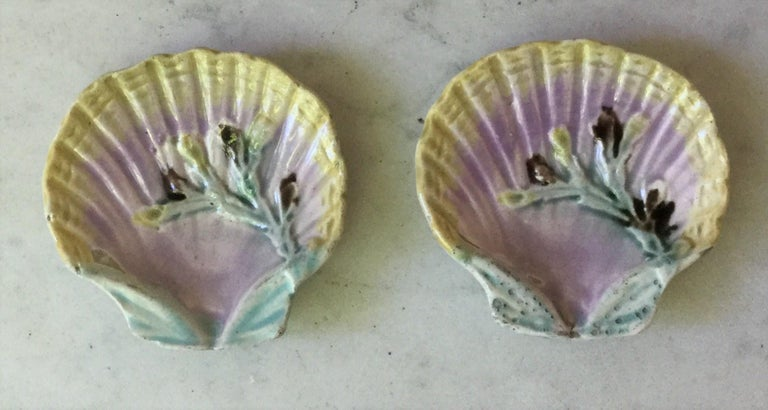 Late 19th Century English Majolica Shell Butter Pat, circa 1880 For Sale