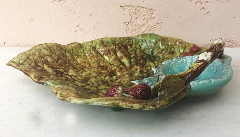 Large English Majolica begonia leaf decorated with strawberries and cherries, circa 1890.