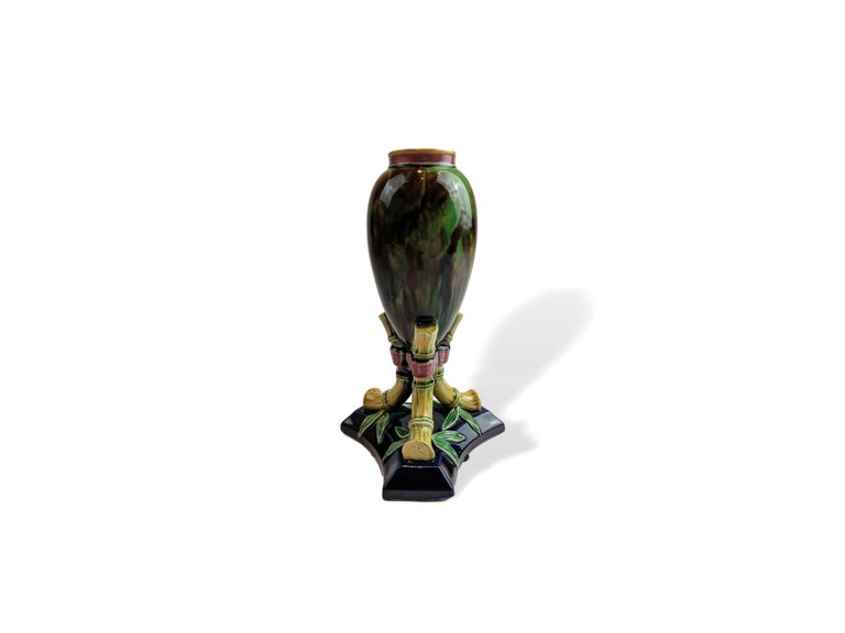 English Majolica vase by TC Brown Westhead Moore, circa 1875. Singed examples by this high quality British maker are rare. For over 28 years we have been among the Nation's preeminent specialists in fine antique majolica.