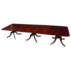 English Mansion Antique Mahogany Large 3 Pillar Dining Table