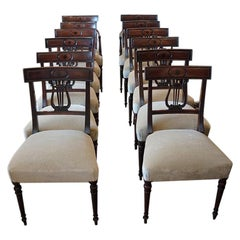 English Mansion House Set of 12 Regency Mahogany Dining Chairs, circa 1820