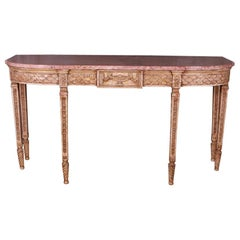 English Marble-Top Console Table