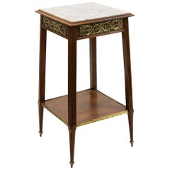 English Marble-Top Double Tiered Stand