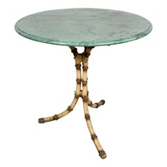 English Marble Top Faux Bamboo Café Table, Early 20th Century